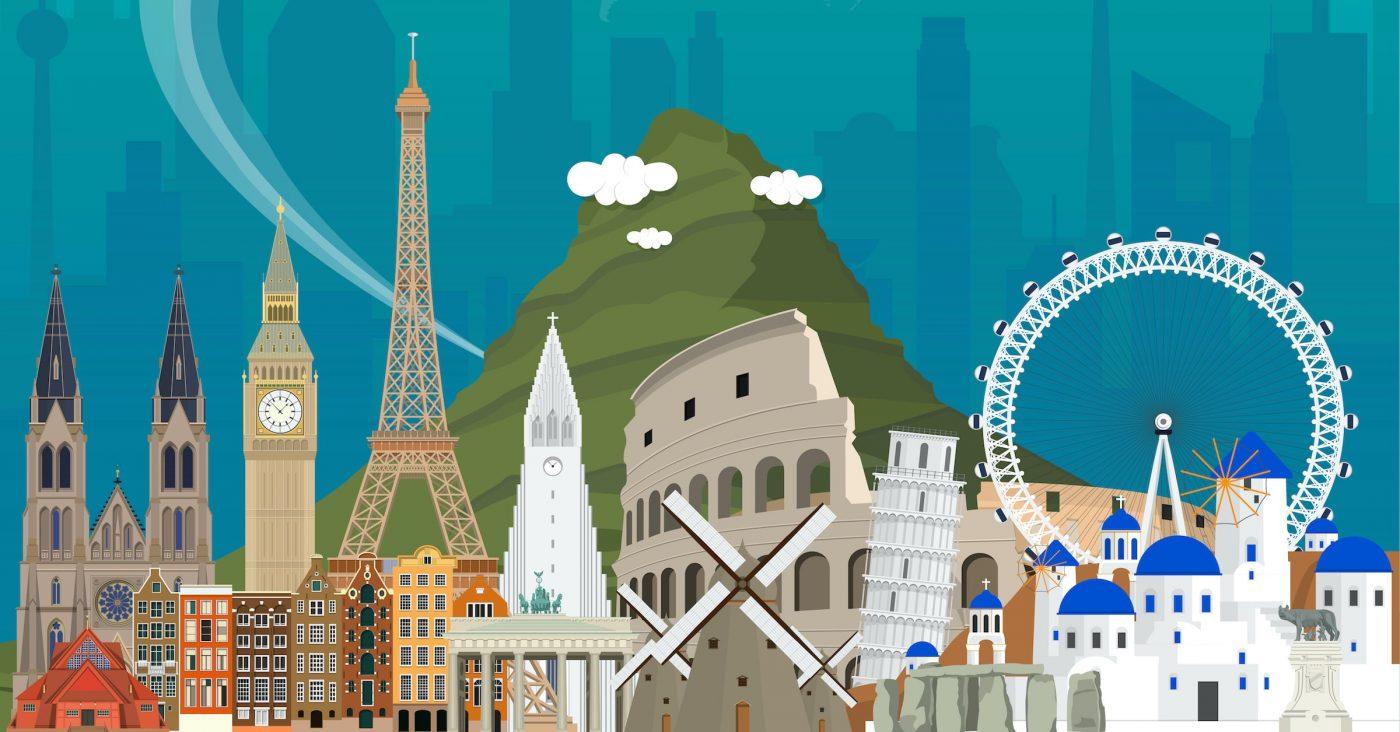 Illustration of European Landmarks