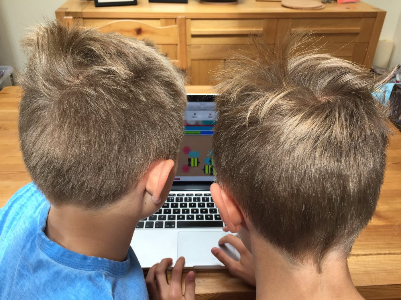 Photo: Two boys use computer